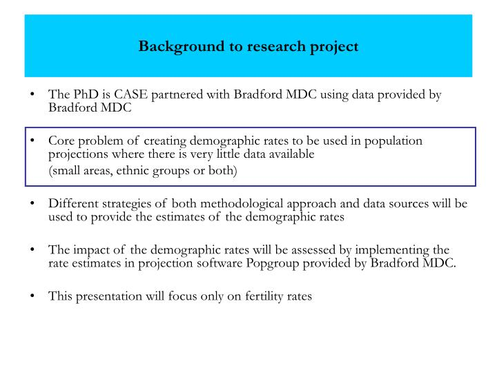 Background to research project