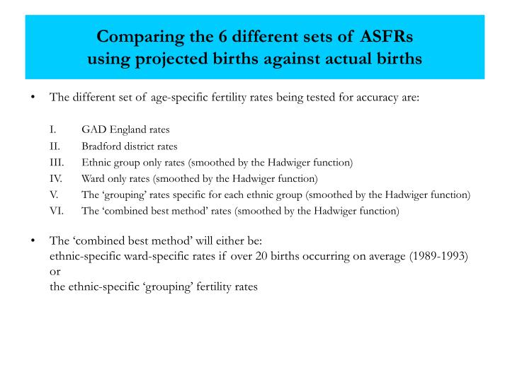 Comparing the 6 different sets of ASFRs