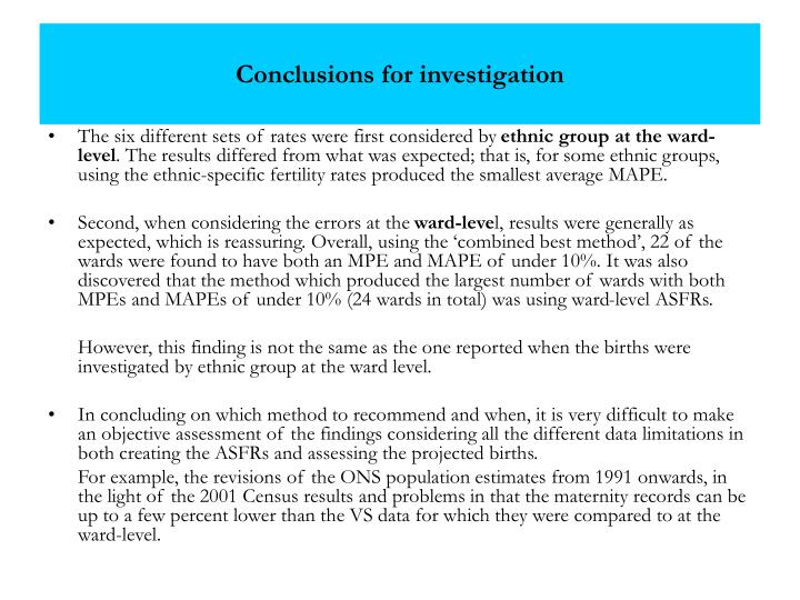 Conclusions for investigation