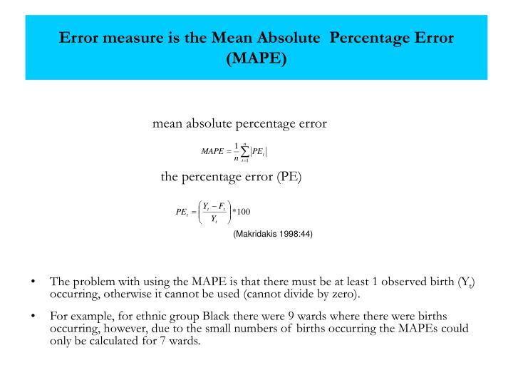 Error measure is the Mean Absolute  Percentage Error (MAPE)
