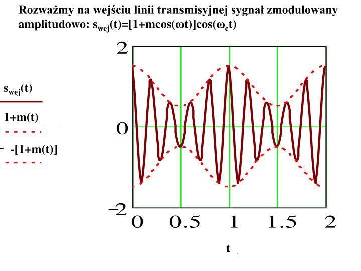 Rozważmy na wejściu linii transmisyjnej sygnał zmodulowany