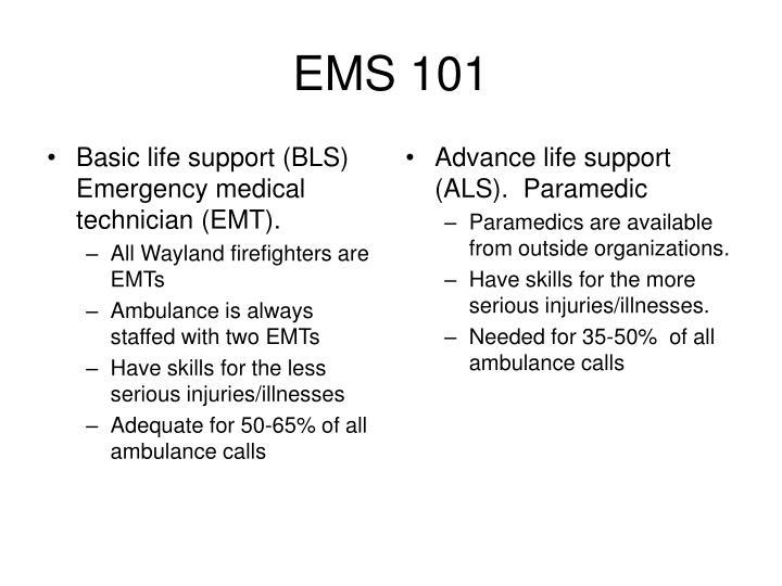 Basic life support (BLS) Emergency medical technician (EMT).