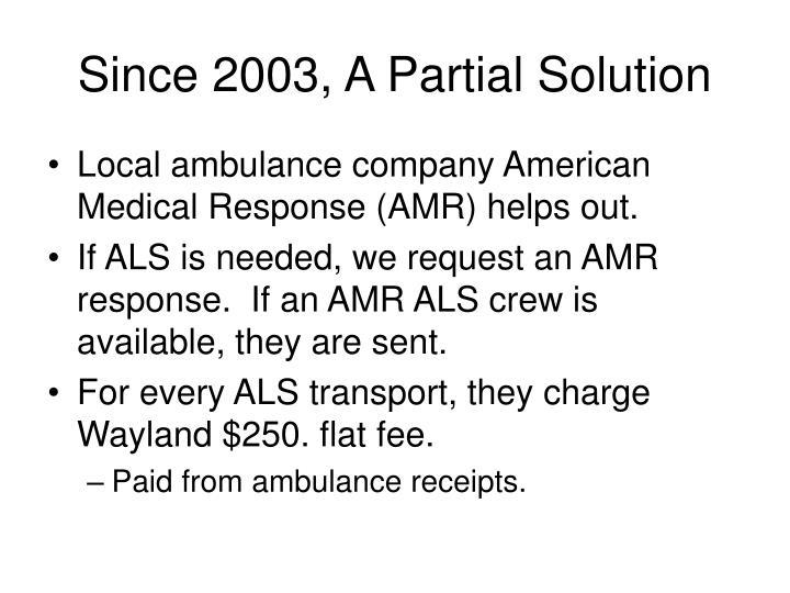 Since 2003, A Partial Solution