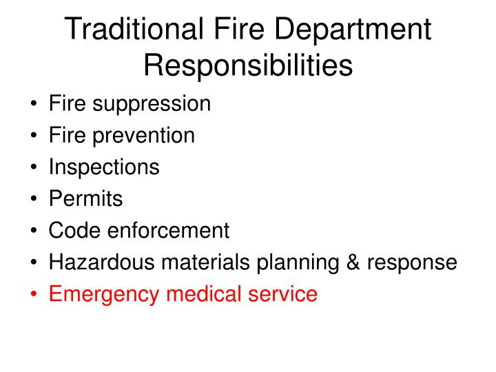 Traditional Fire Department Responsibilities