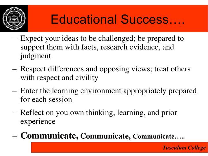 Educational Success….