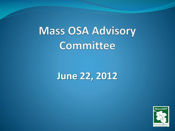 mass osa advisory committee n.