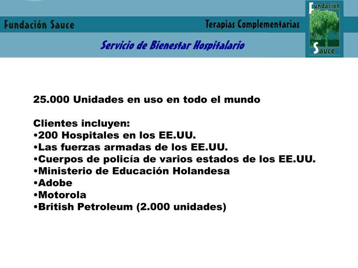 25.000 Unidades en uso en todo el mundo