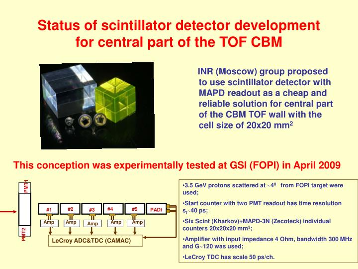 Status of scintillator detector development for central part of the tof cbm