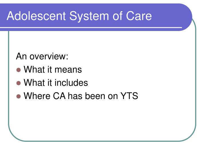Adolescent system of care
