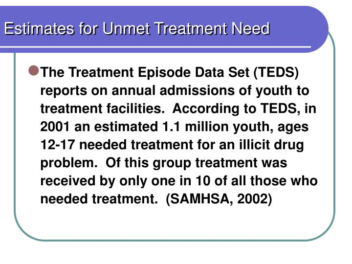 Estimates for Unmet Treatment Need