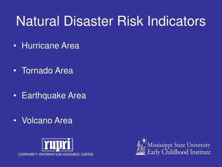 Natural Disaster Risk Indicators