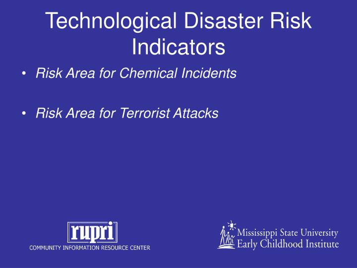 Technological Disaster Risk Indicators