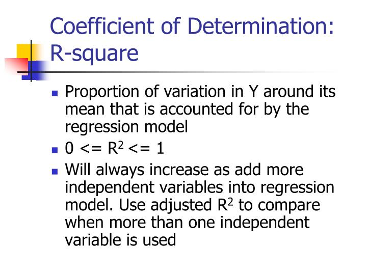 Coefficient of determination r square