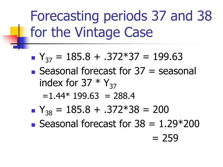 Forecasting periods 37 and 38 for the Vintage Case