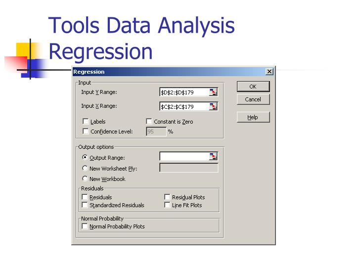 Tools data analysis regression