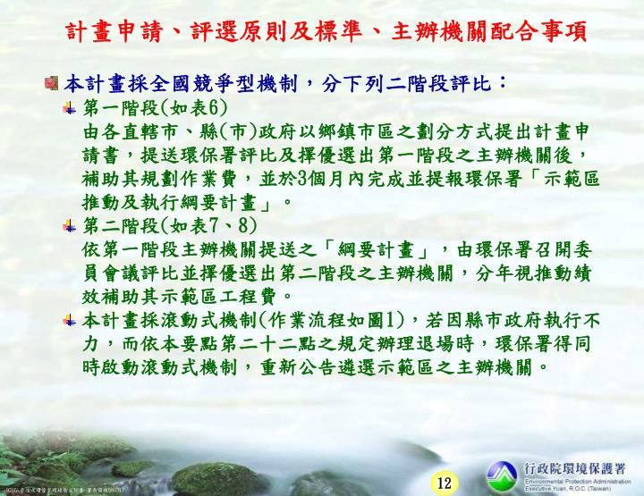 計畫申請、評選原則及標準、主辦機關配合事項
