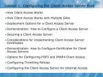 lesson 1 configuring the client access server role