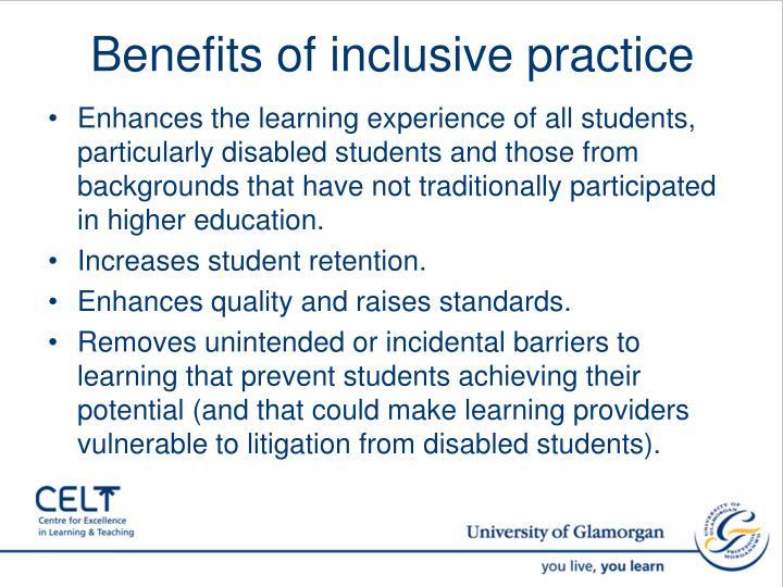 Benefits of inclusive practice