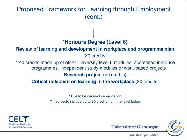 Proposed Framework for Learning through Employment (cont.)
