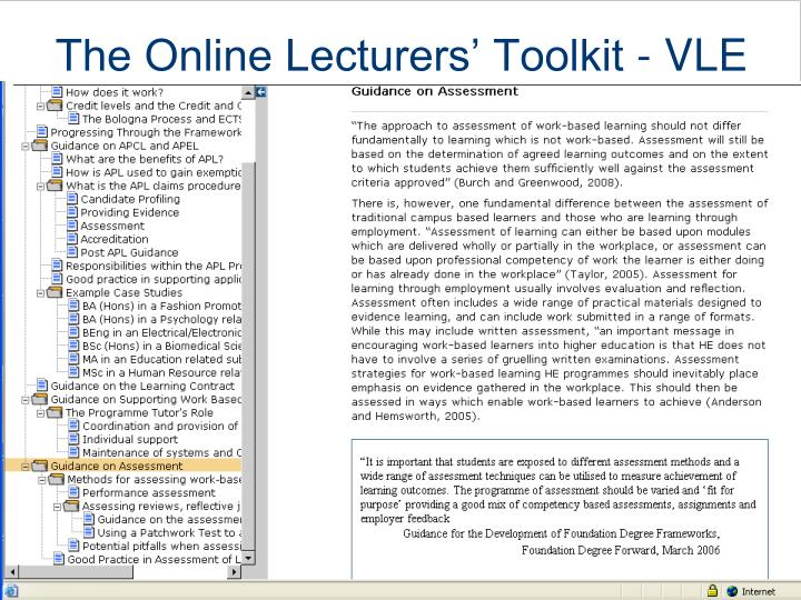 The Online Lecturers' Toolkit - VLE