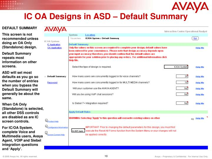 IC OA Designs in ASD – Default Summary