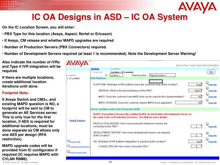 IC OA Designs in ASD – IC OA System