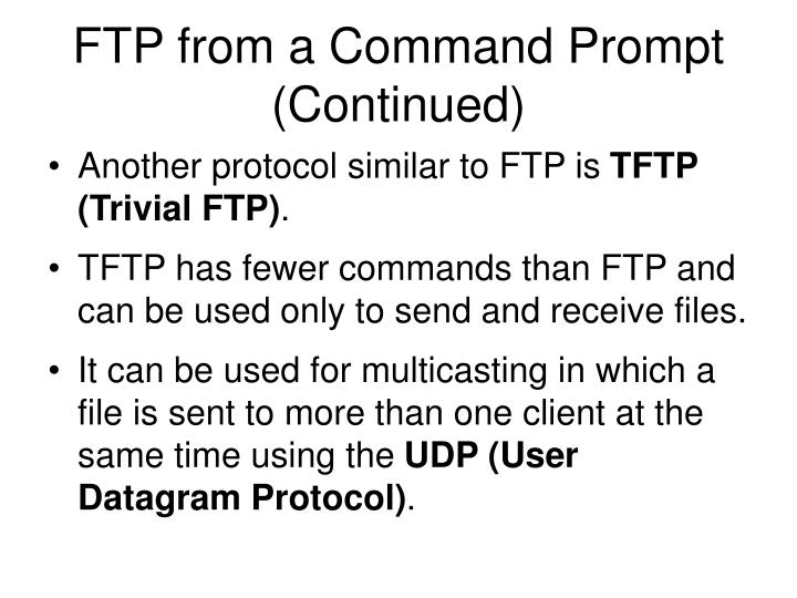 FTP from a Command Prompt (Continued)