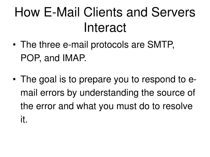 How E-Mail Clients and Servers Interact