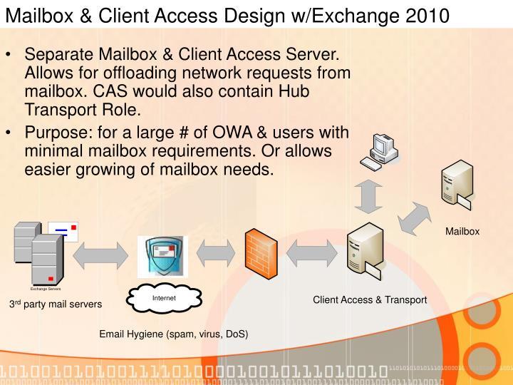 Mailbox & Client Access Design w/Exchange 2010