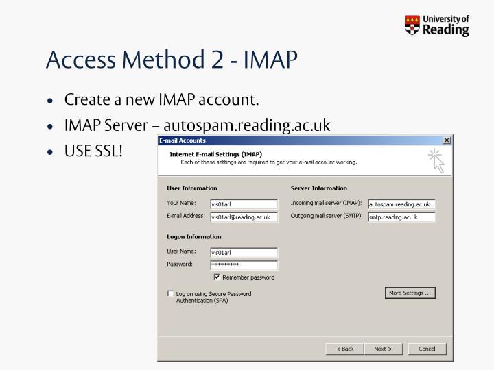Access Method 2 - IMAP