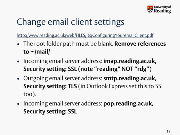 Change email client settings