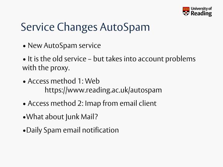Service changes autospam