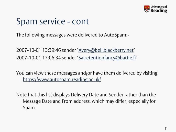Spam service - cont