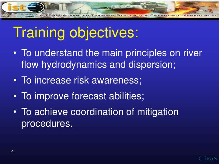 Training objectives: