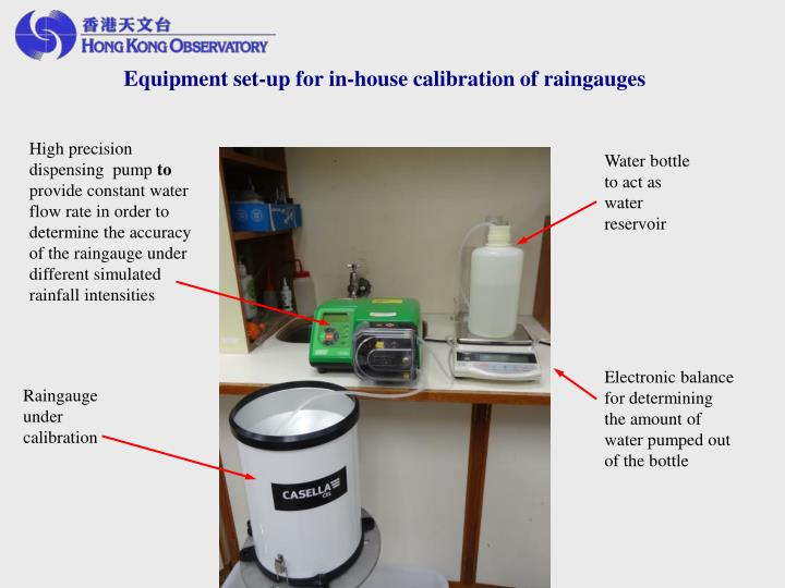 Equipment set-up for in-house calibration of