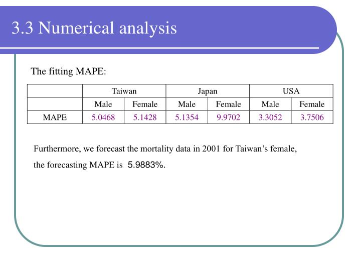 3.3 Numerical analysis
