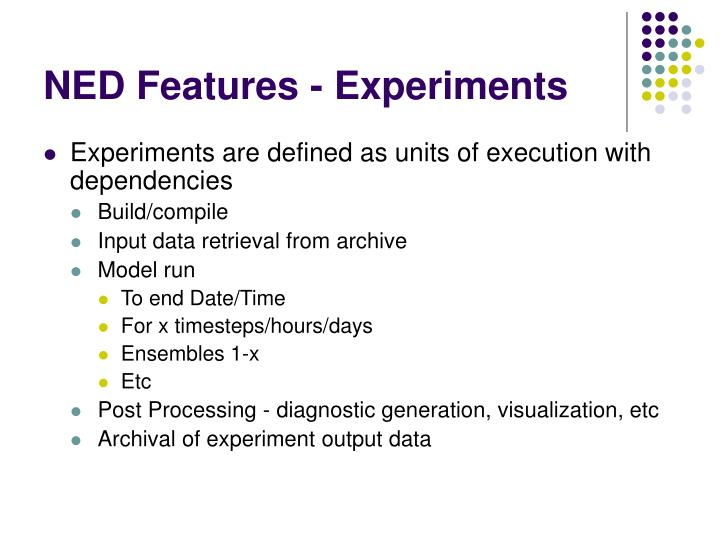 NED Features - Experiments
