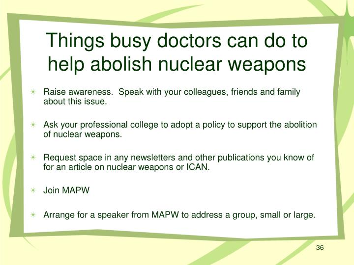 Things busy doctors can do to help abolish nuclear weapons