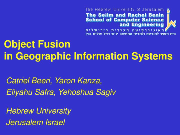 object fusion in geographic information systems n.