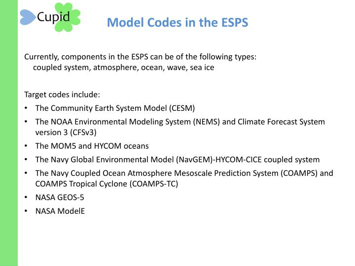 Model Codes in the ESPS