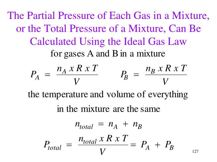 The Partial Pressure of Each Gas in a Mixture, or the Total Pressure of a Mixture, Can Be Calculated Using the Ideal Gas Law