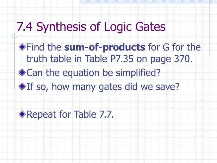 7.4 Synthesis of Logic Gates