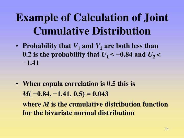 Example of Calculation of Joint Cumulative Distribution