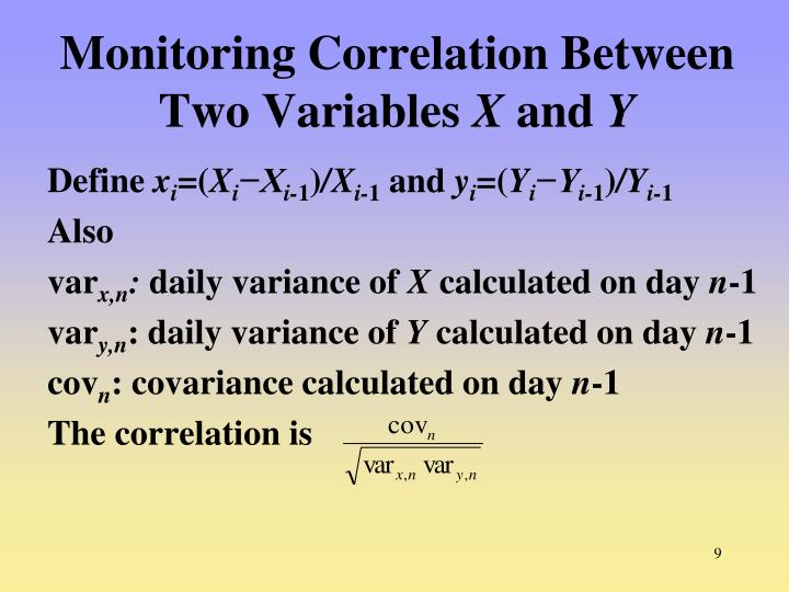 Monitoring Correlation Between Two Variables