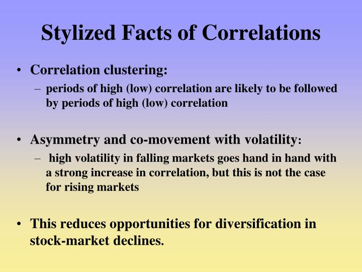 Stylized Facts of Correlations