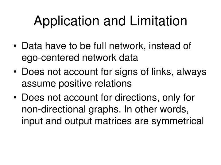Application and Limitation