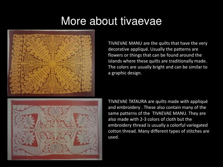 More about tivaevae