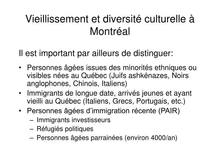 Vieillissement et diversité culturelle à Montréal