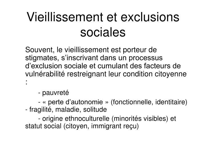 Vieillissement et exclusions sociales