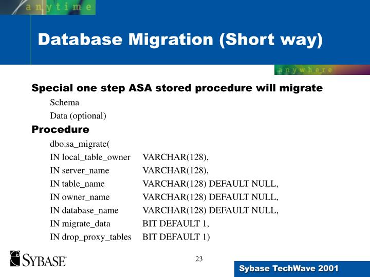 Special one step ASA stored procedure will migrate